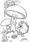 Детская раскраска ежик и грибы