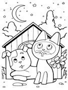 Раскраска котенок по имени гав и щенок