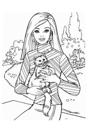 Детская разукрашка барби с котенком