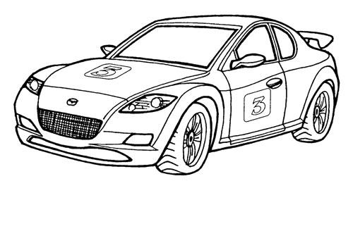 Детская разукраска автомобили mazda rx 8