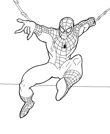 Разукрашка для малышей человек паук