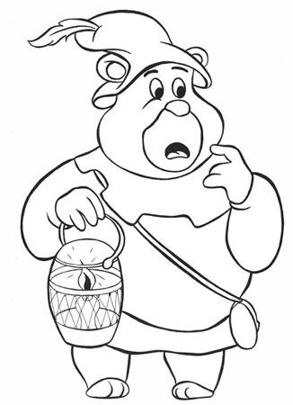 Разукрашка для малышей мишки гамми