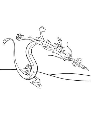 детская раскраска дракончик мушу извергает пламя